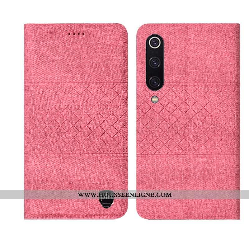 Housse Xiaomi Mi 9 Lite Protection Cuir Petit Lin Étui Jeunesse Rose