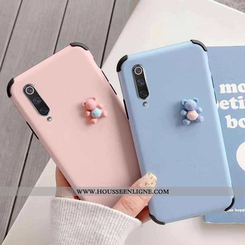 Housse Xiaomi Mi 9 Se Créatif Dessin Animé Charmant Silicone Dimensionnel Protection Ours Bleu