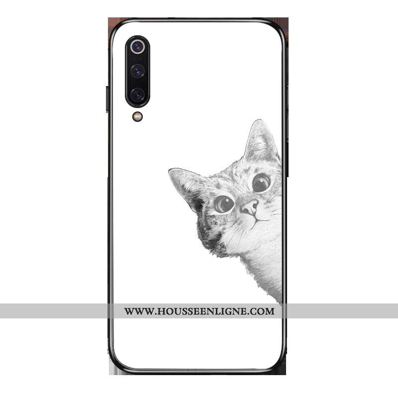 Housse Xiaomi Mi 9 Se Protection Verre Chat Étui Amoureux Fluide Doux Vent Blanche