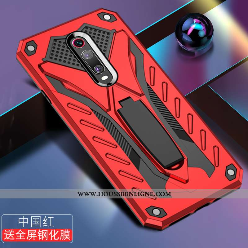 Housse Xiaomi Mi 9t Délavé En Daim Créatif Étui Téléphone Portable Protection Petit Tendance Rouge
