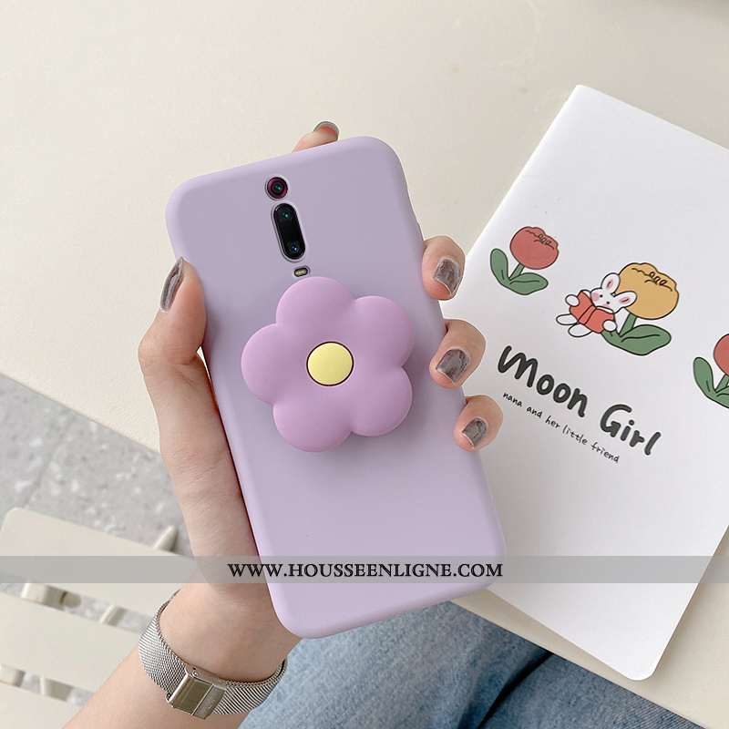 Housse Xiaomi Mi 9t Pro Créatif Fluide Doux Silicone Rouge Étui Coque Fleur Violet
