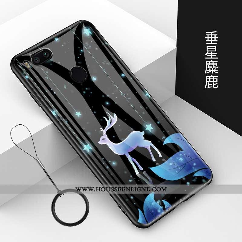 Housse Xiaomi Mi A1 Créatif Dessin Animé Bleu Verre Protection Fluide Doux Tendance