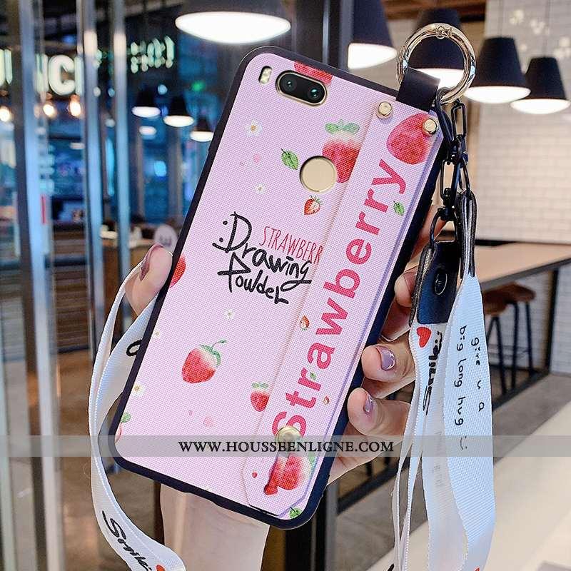 Housse Xiaomi Mi A1 Délavé En Daim Personnalité Fluide Doux Rose Petit Mode Téléphone Portable