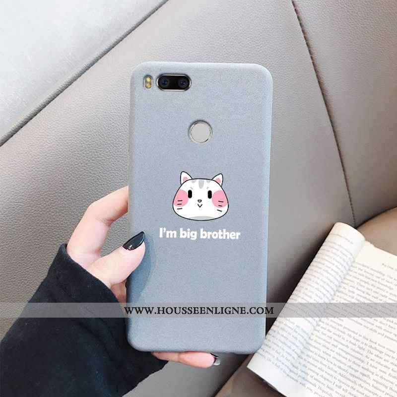 Housse Xiaomi Mi A1 Protection Délavé En Daim Coque Fluide Doux Chic Étui Bordure Gris