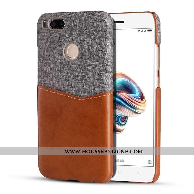 Housse Xiaomi Mi A1 Protection Petit Téléphone Portable Rouge Carte Étui Coque Marron
