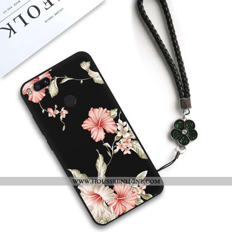 Housse Xiaomi Mi A1 Silicone Classic Net Rouge Personnalité Petit Fleur Art Noir