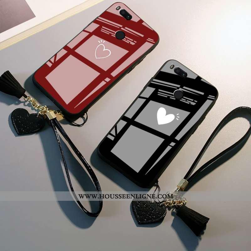 Housse Xiaomi Mi A1 Silicone Mode Amour Simple Verre Téléphone Portable Étui Bordeaux