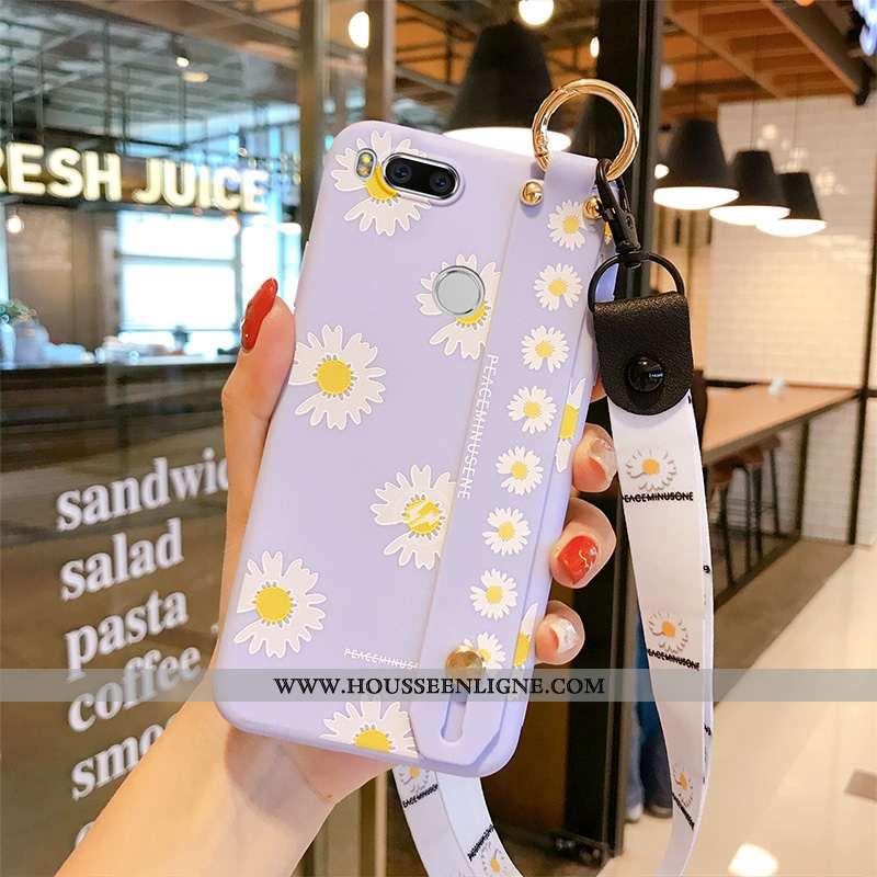 Housse Xiaomi Mi A1 Tendance Silicone Petite Marguerite Téléphone Portable Étui Violet Petit