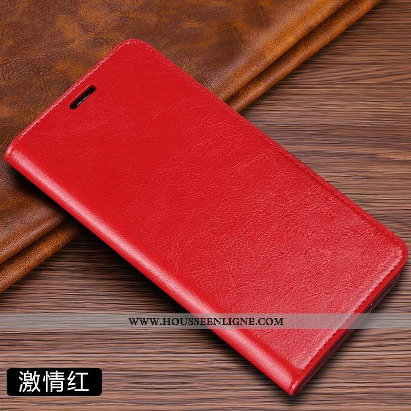 Housse Xiaomi Mi A2 Cuir Cuir Véritable Petit Plier Coque Rouge