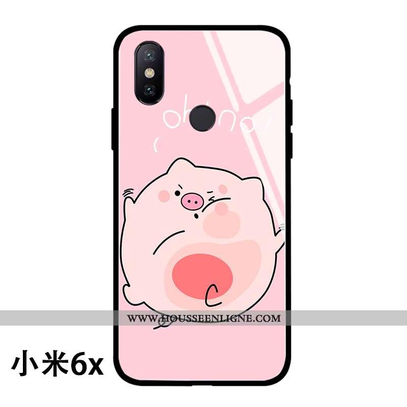 Housse Xiaomi Mi A2 Dessin Animé Charmant Miroir Verre Net Rouge Rose Rouge