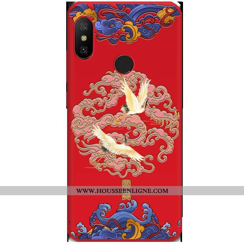 Housse Xiaomi Mi A2 Lite Gaufrage Tendance Vent Rouge Coque Nouveau Étui