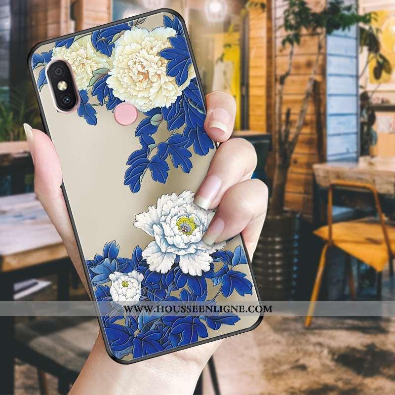 Housse Xiaomi Mi A2 Lite Tendance Fluide Doux Incassable Téléphone Portable Fleur Noir Bleu