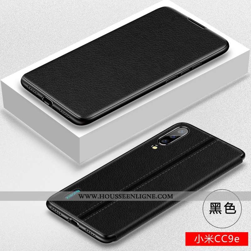 Housse Xiaomi Mi A3 Cuir Fluide Doux Clamshell Silicone Petit Protection Noir