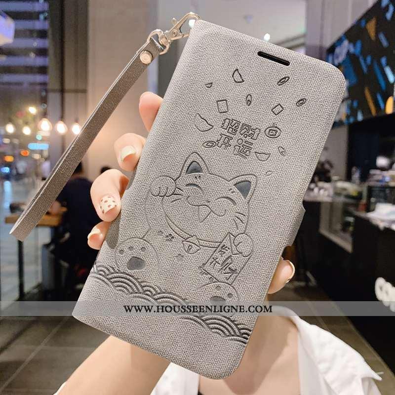Housse Xiaomi Mi Max 3 Créatif Vintage Étui Gris Clamshell Protection Cuir