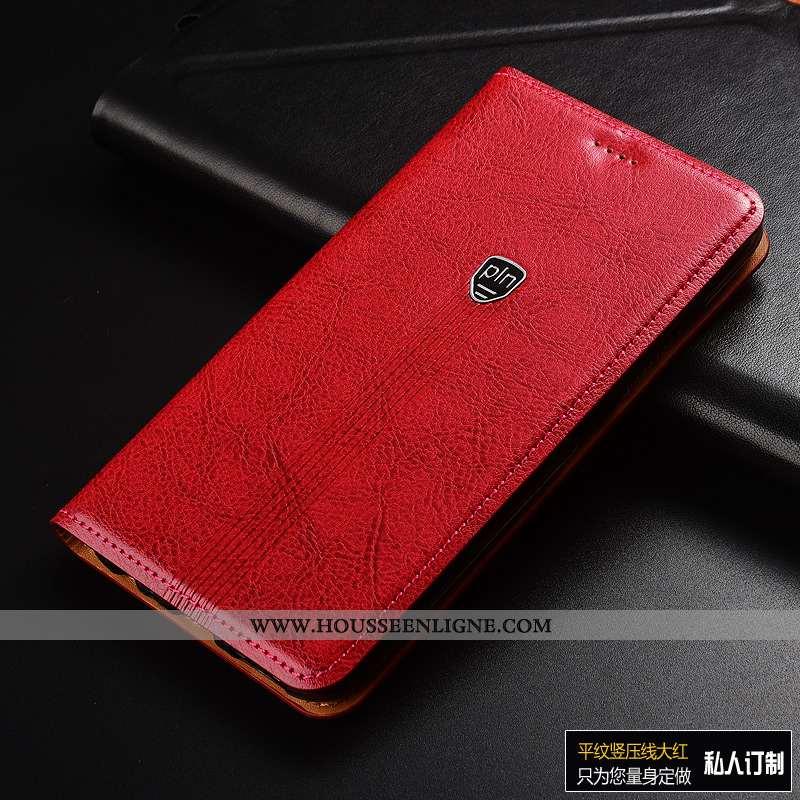 Housse Xiaomi Mi Max 3 Cuir Véritable Cuir Coque Tout Compris Silicone Rouge Luxe