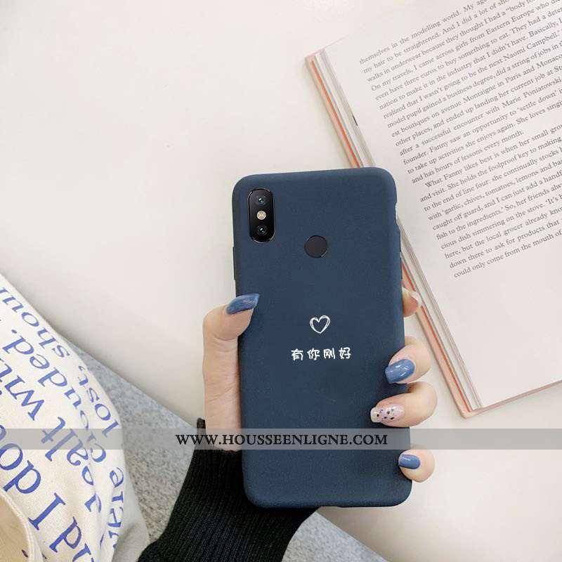 Housse Xiaomi Mi Max 3 Délavé En Daim Créatif Incassable Amoureux Tendance Téléphone Portable Bleu M