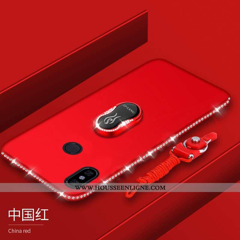 Housse Xiaomi Mi Max 3 Ornements Suspendus Fluide Doux Rouge Tout Compris Coque Délavé En Daim Prote