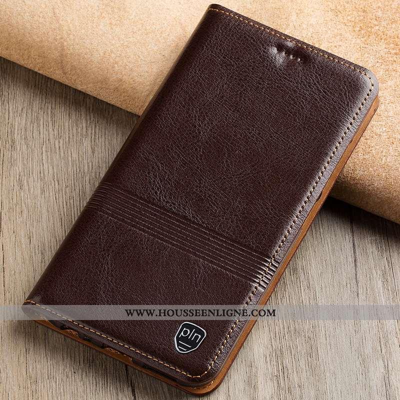 Housse Xiaomi Mi Max 3 Protection Cuir Véritable Marron Téléphone Portable Tout Compris Petit Étui