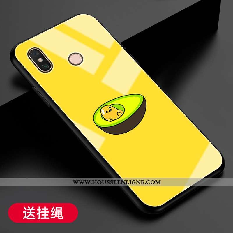 Housse Xiaomi Mi Max 3 Protection Verre Jaune Fluide Doux Net Rouge Téléphone Portable Coque