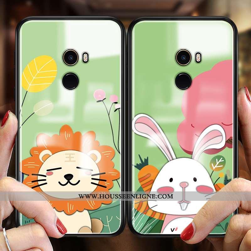 Housse Xiaomi Mi Mix 2 Charmant Protection Tout Compris Amoureux Coque Dessin Animé Étui Verte
