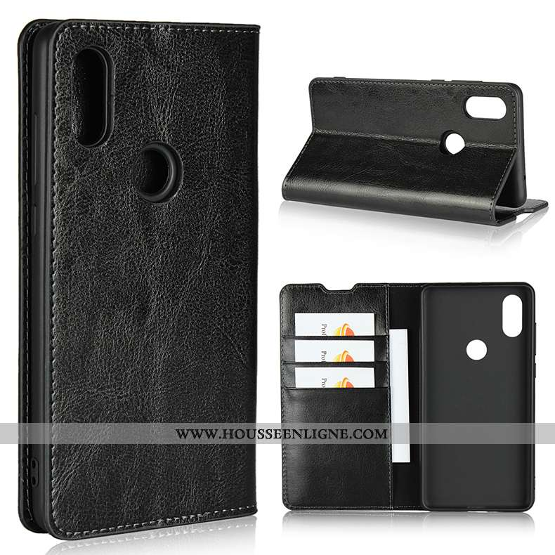 Housse Xiaomi Mi Mix 2s Cuir Protection Petit Carte Coque Noir Incassable