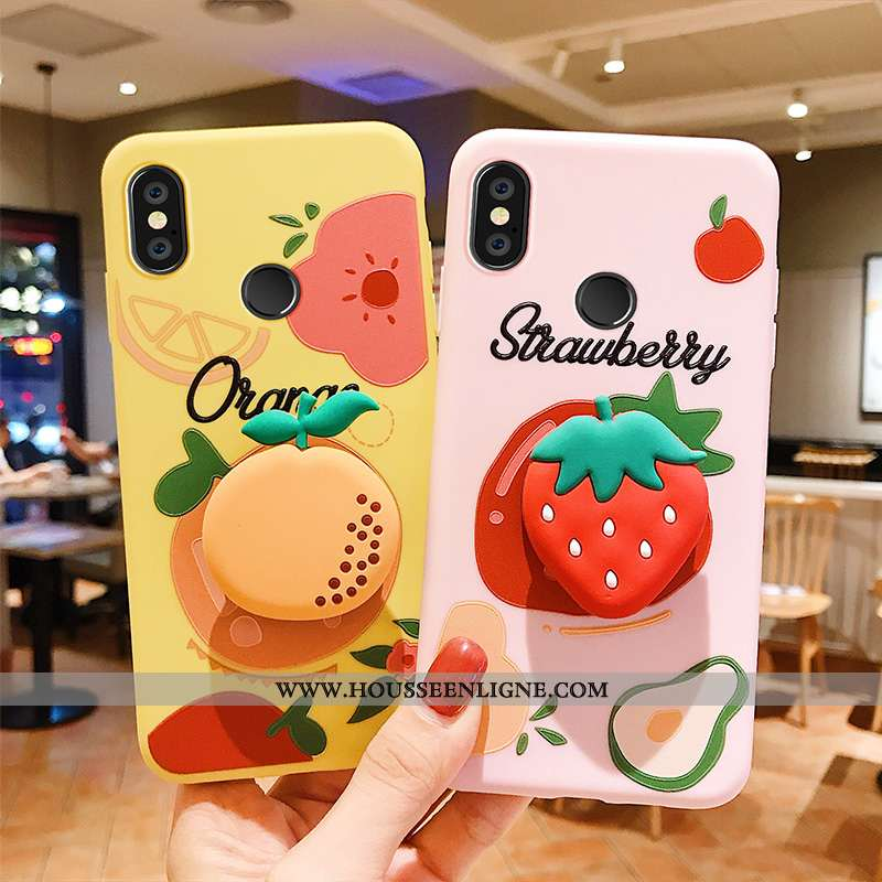 Housse Xiaomi Mi Mix 2s Tendance Silicone Fruit Personnalité Tout Compris Rose Étui