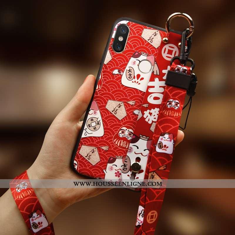 Housse Xiaomi Mi Mix 3 Créatif Silicone Personnalité Richesse Chat Tout Compris Incassable Rouge