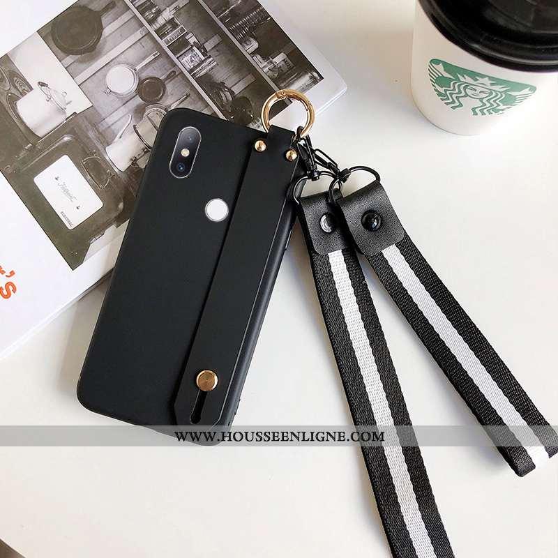 Housse Xiaomi Mi Mix 3 Délavé En Daim Cou Suspendu Simple Étui Incassable Support Rouge Noir