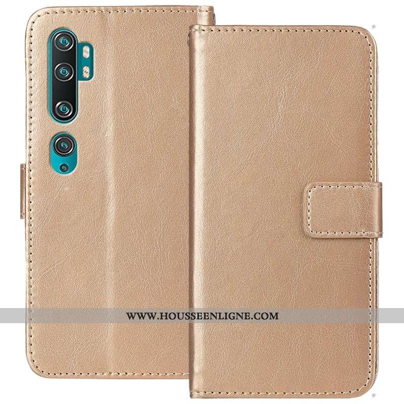 Housse Xiaomi Mi Note 10 Cuir Fluide Doux Carte Protection Étui Or Doré