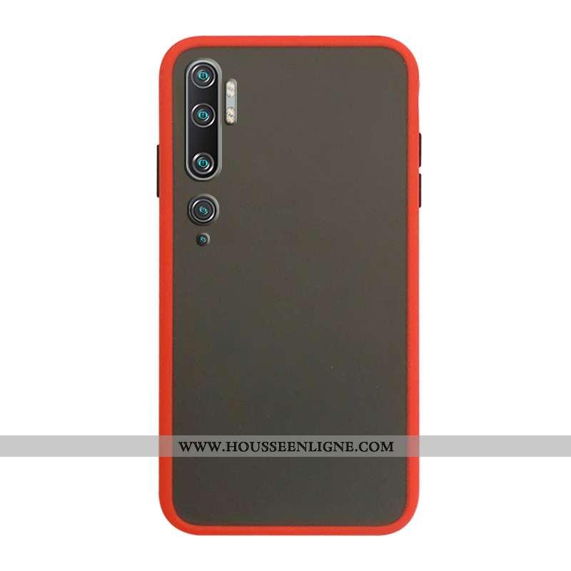 Housse Xiaomi Mi Note 10 Délavé En Daim Protection Téléphone Portable Étui Membrane Tempérer Rouge