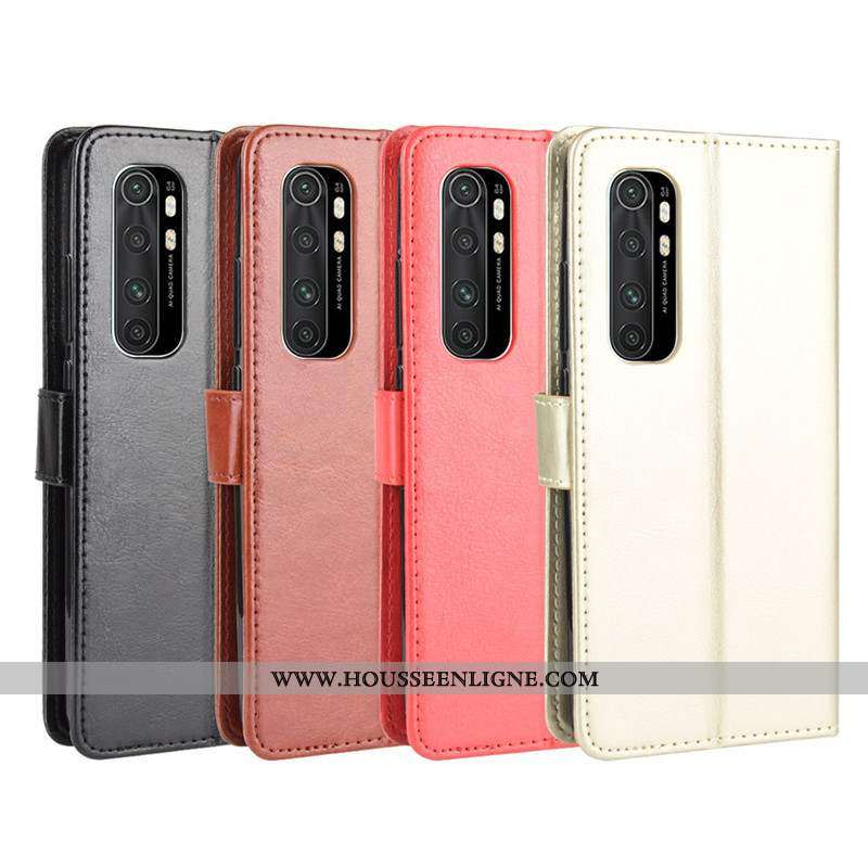 Housse Xiaomi Mi Note 10 Lite Cuir Ornements Suspendus Étui Or Couleur Unie Petit Coque Doré