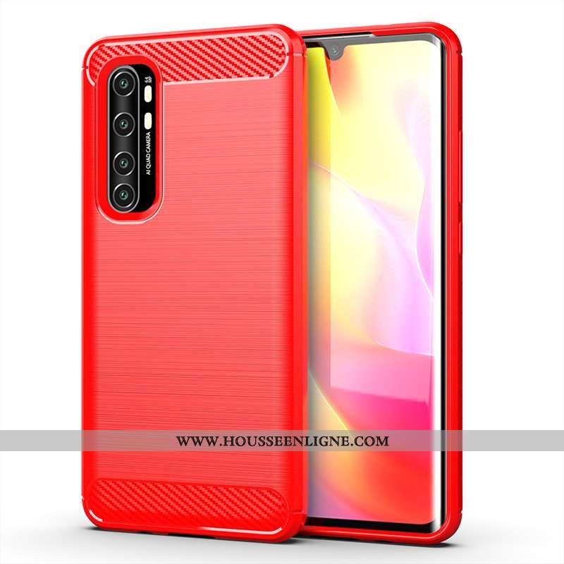 Housse Xiaomi Mi Note 10 Lite Fluide Doux Protection Soie Coque Téléphone Portable Incassable Rouge
