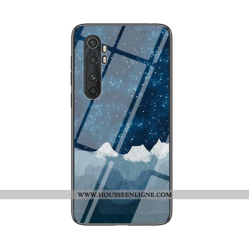 Housse Xiaomi Mi Note 10 Lite Fluide Doux Silicone Bleu Marin Difficile Coque Nouveau Verre Bleu Fon