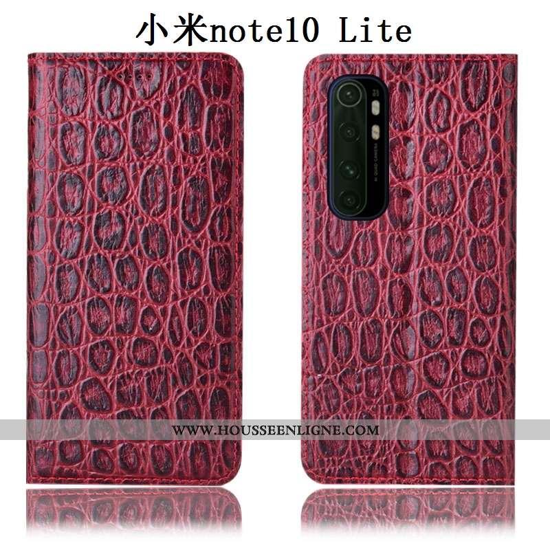 Housse Xiaomi Mi Note 10 Lite Protection Cuir Véritable Jeunesse Coque Petit Tout Compris Rouge