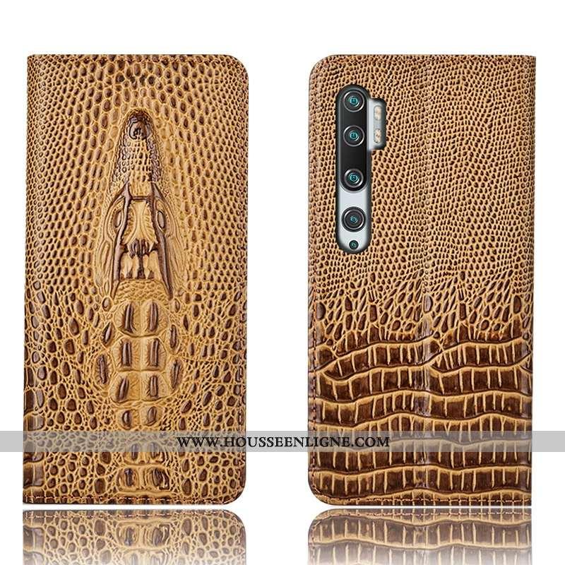 Housse Xiaomi Mi Note 10 Protection Cuir Véritable Petit Crocodile Étui Téléphone Portable Marron