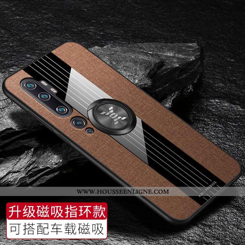 Housse Xiaomi Mi Note 10 Protection Verre Net Rouge Personnalisé Tissu Personnalité Créatif Marron