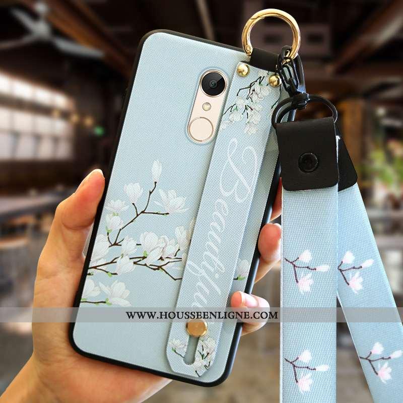 Housse Xiaomi Redmi 5 Fluide Doux Silicone Personnalité Petit Téléphone Portable Pu Rouge Bleu