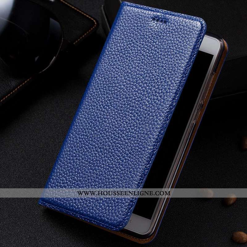 Housse Xiaomi Redmi 6 Cuir Protection Petit Litchi Bleu Marin Étui Rouge Bleu Foncé