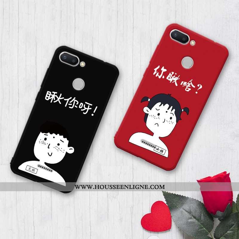 Housse Xiaomi Redmi 6 Protection Délavé En Daim Silicone Incassable Petit Coque Créatif Noir
