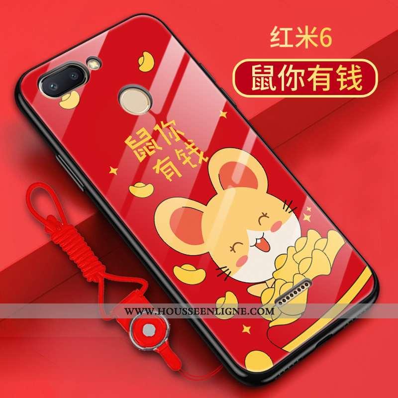 Housse Xiaomi Redmi 6 Verre Délavé En Daim Tendance Rat Petit Coque Rouge