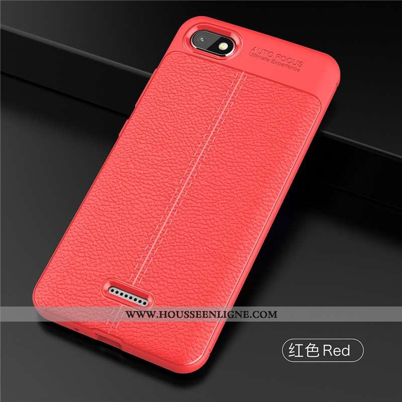 Housse Xiaomi Redmi 6a Délavé En Daim Personnalité Ultra Rouge Protection Téléphone Portable Incassa