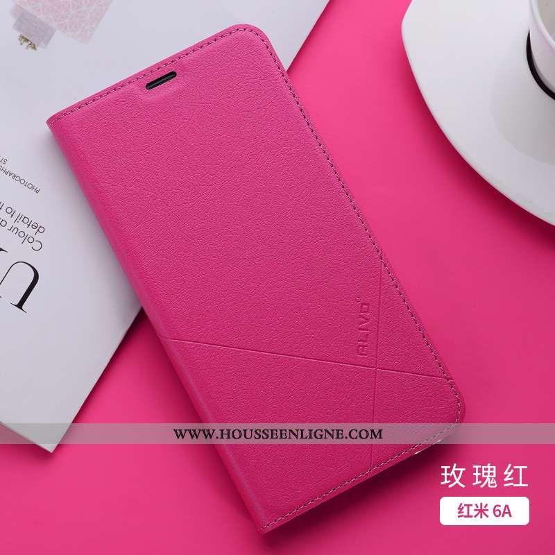 Housse Xiaomi Redmi 6a Silicone Protection Créatif Rouge Cuir Téléphone Portable Étui Rose