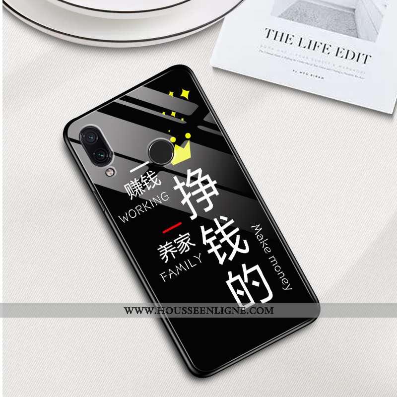 Housse Xiaomi Redmi 7 Légère Silicone Verre Coque Tendance Étui Miroir Noir