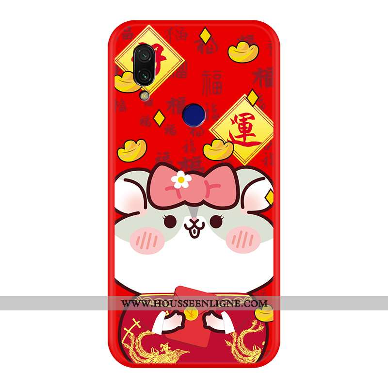 Housse Xiaomi Redmi 7 Tendance Silicone Rouge Style Chinois Nouveau Protection Dessin Animé