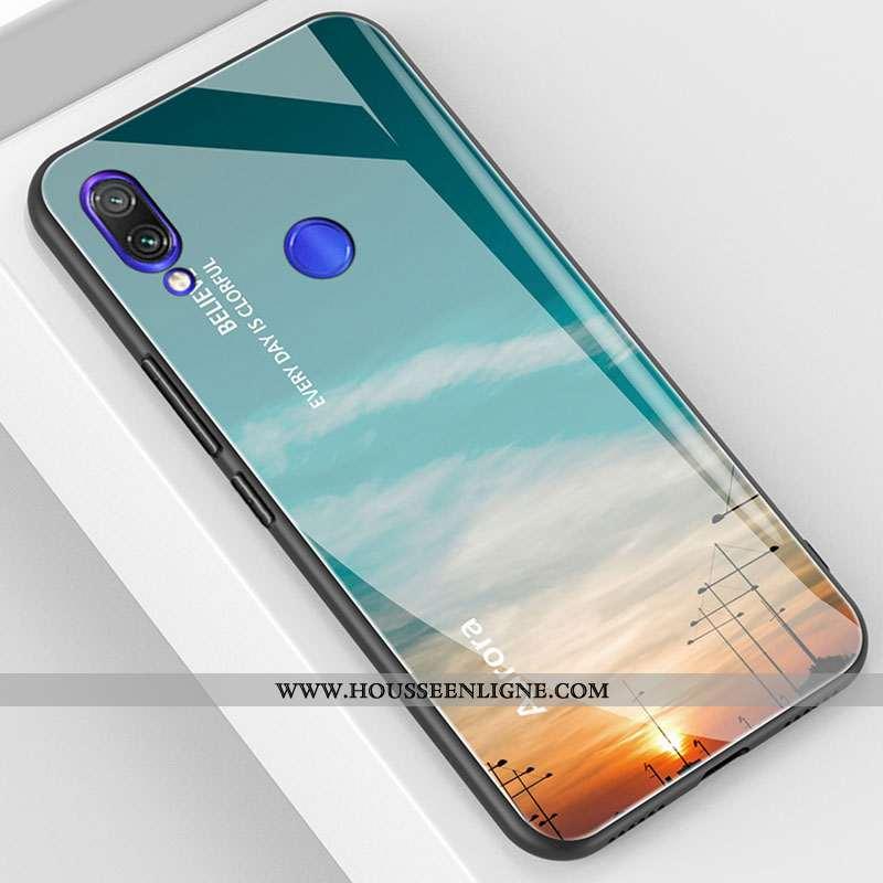 Housse Xiaomi Redmi 7 Verre Tendance Petit Téléphone Portable Tout Compris Protection Coque Bleu
