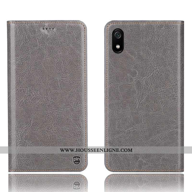 Housse Xiaomi Redmi 7a Modèle Fleurie Protection Petit Téléphone Portable Incassable Gris Cuir Vérit