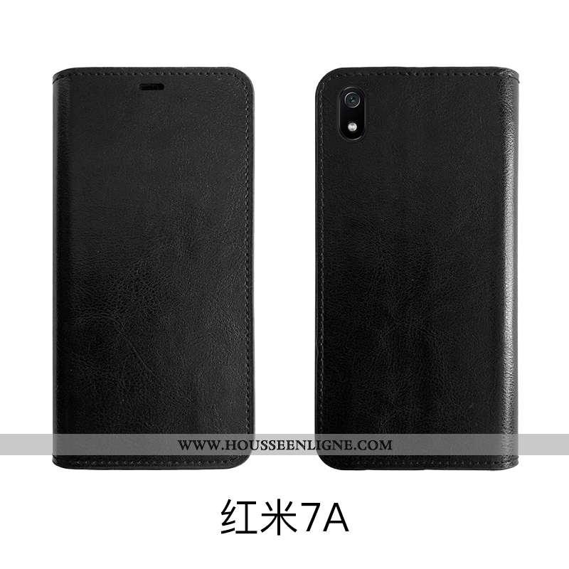 Housse Xiaomi Redmi 7a Protection Cuir Véritable Vintage Business Coque Petit Étui Noir