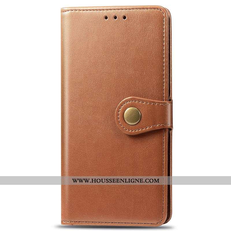 Housse Xiaomi Redmi 7a Protection Portefeuille Carte Rouge Business Incassable Étui Marron