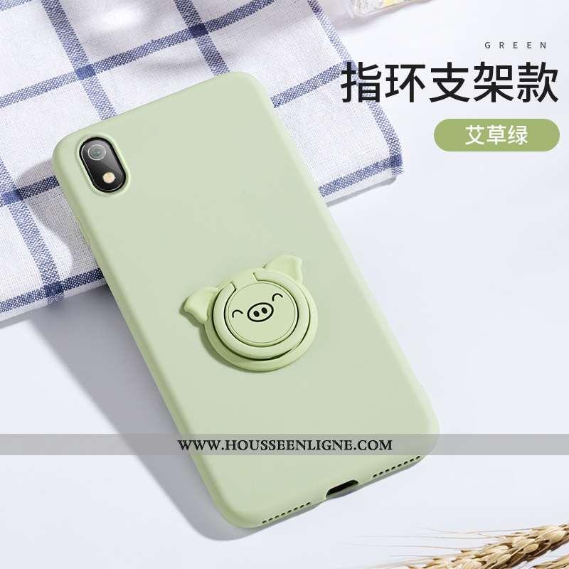 Housse Xiaomi Redmi 7a Silicone Protection Vert Simple Anneau Rouge Tout Compris Verte