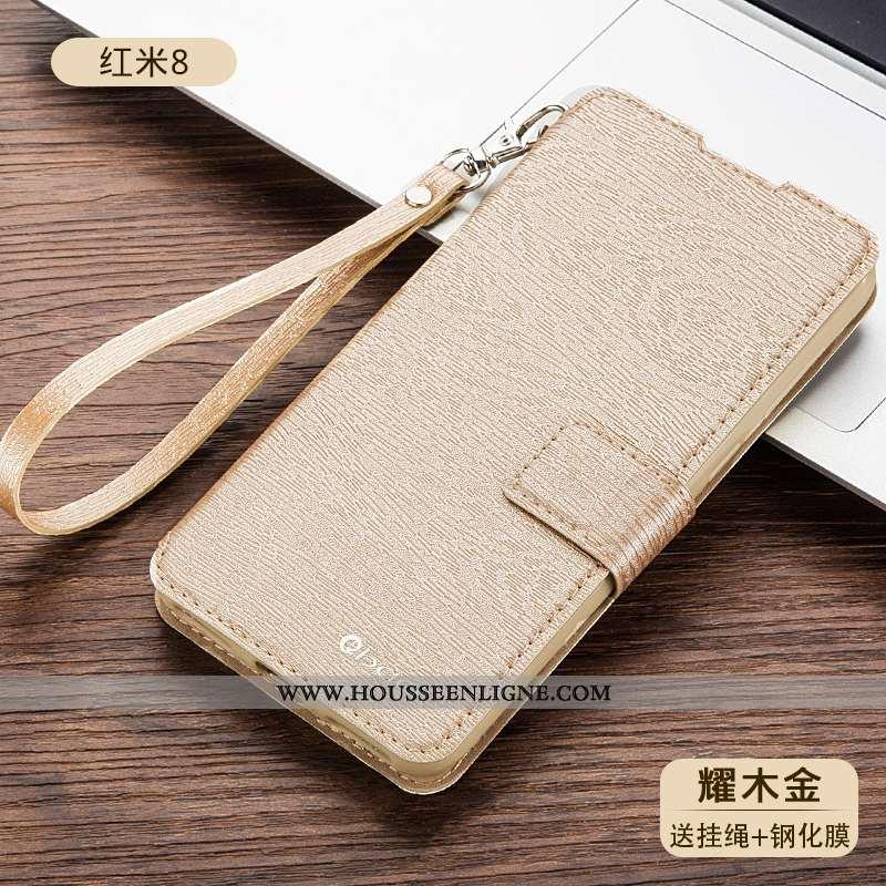 Housse Xiaomi Redmi 8 Cuir Fluide Doux Étui Téléphone Portable Coque Protection Doré
